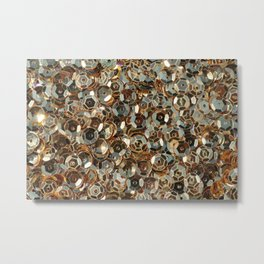 Shiny gold sequins background Metal Print