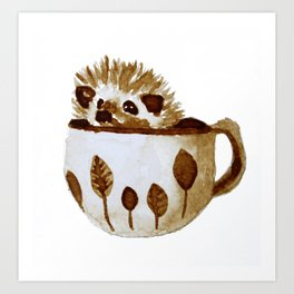 Hedgehog in a Cup Painted with Coffee Art Print