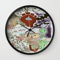 fear and loathing Wall Clocks featuring Fear and Loathing Print by Just Bailey Designs .com