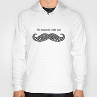 mustache Hoodies featuring Mustache by Rucifer