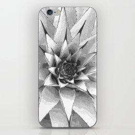Black and White Cactus Succulent iPhone Skin