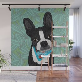 Tropical Boston Terrier Boy Wall Mural