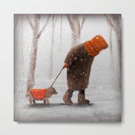 Old Lady and Dog, Dachshund, Winter Walk Metal Print