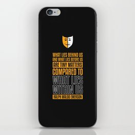 Lab No. 4 What Lies Behind Us Ralph Waldo Emerson Life Inspirational Quote iPhone Skin
