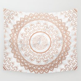 Mandala - rose gold and white marble Wall Tapestry