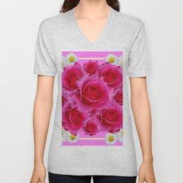 Purple Fuchsia Rose & Daisy  Flowers Art Design Abstract Unisex V-Neck