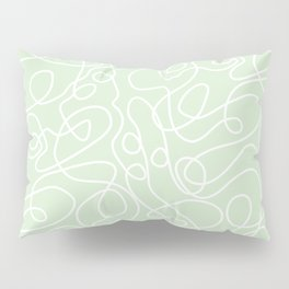 Doodle Line Art | White Lines on Palest Green Pillow Sham
