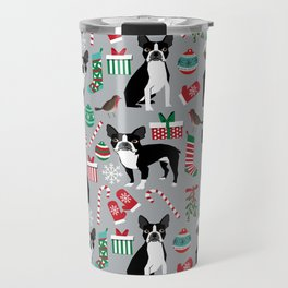 Boston Terrier christmas holiday pattern design dog breed gifts pet friendly home decor Travel Mug