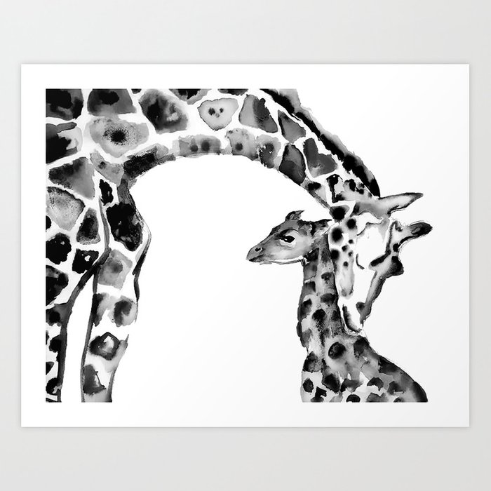 Black and white giraffes Kunstdrucke