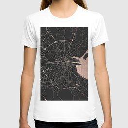 Black on Rosegold Dublin Street Map T-shirt