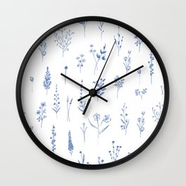 Wildflowers in blue Wall Clock