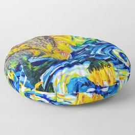 Gorgeous Blue and Yellow Van Gogh Sunflowers Floor Pillow