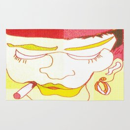 digital art of a woman smoking yellow red white zolliophone Art shop Rug