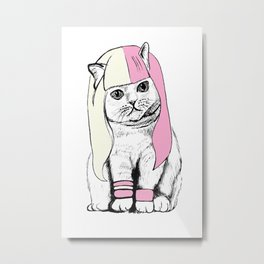 Cat wig Metal Print