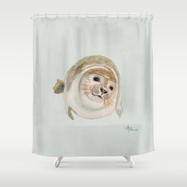 Sea Lion Watercolor Shower Curtain