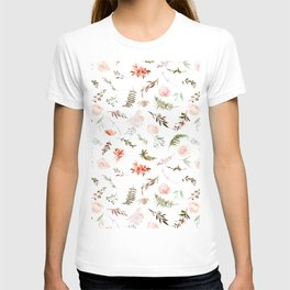 Coral pink green watercolor hand painted floral T-shirt