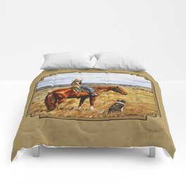 Young Cowgirl on Cattle Horse Comforters