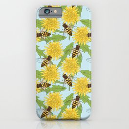 Dandelion and Hoverfly Summer Floral Pattern iPhone Case