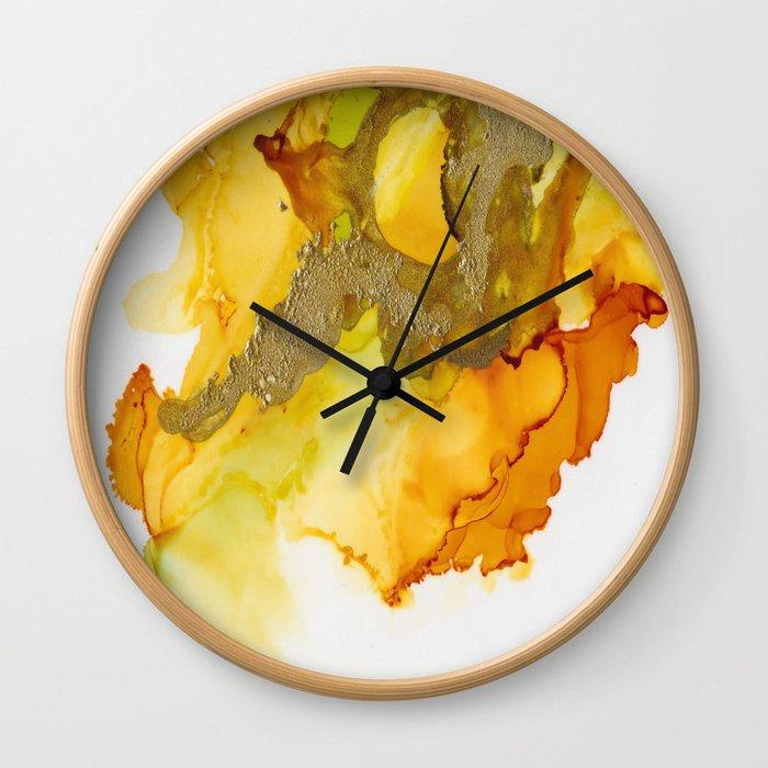 Gold Abstract 1 Wall Clock