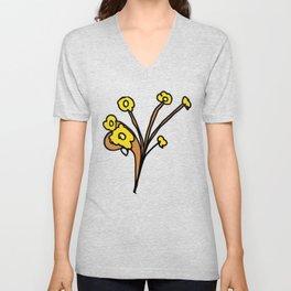 Golden Petals on Branches Unisex V-Neck