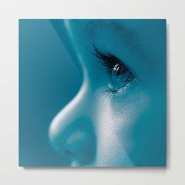 Baby Looking Child Face Eyes Eyelashes Blue Metal Print