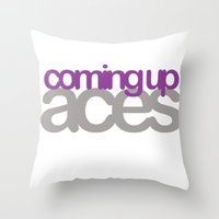 asexual Throw Pillows featuring coming up aces by Brizy Eckert