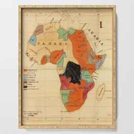 1908 Colonization Map of African Continent Color Coded by Occupying Country  Serving Tray
