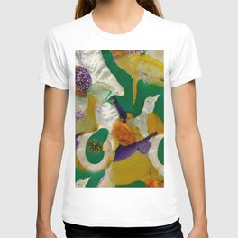 Teal Pearl White and Yellow Acrylic Painting T-shirt