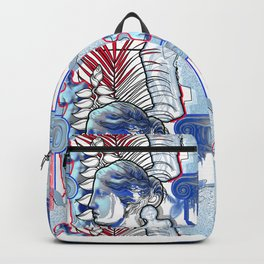 Anciet Design with Venus de Milo sculpture, column and flowers Backpack