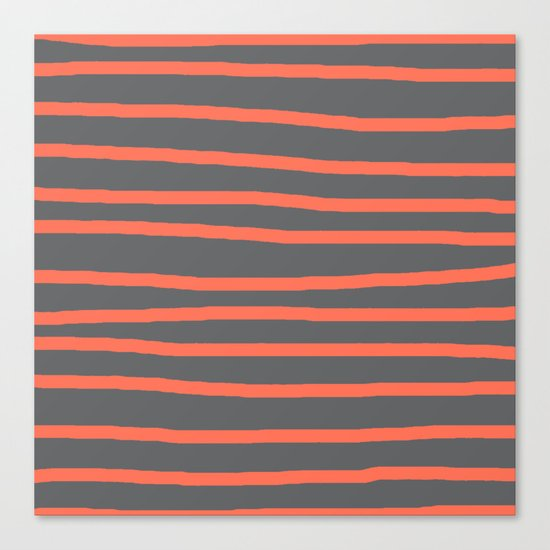 Simply Drawn Stripes Deep Coral on Storm Gray Canvas Print