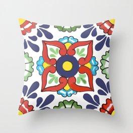 Talavera Mexican Green Floral Throw Pillow