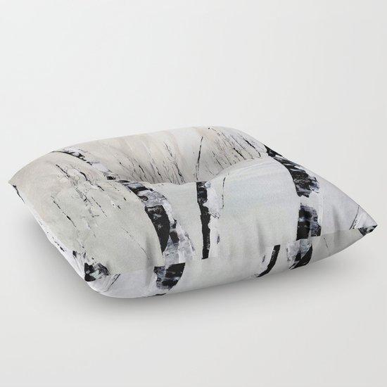 Winter Birch Forest Floor Pillow