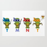 tmnt Area & Throw Rugs featuring TMNT Chibis by Katie Simpson a.k.a. Redhead-K
