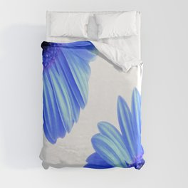 Blue Gerbera Flowers Duvet Cover