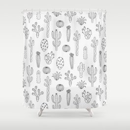Cactus Silhouette Black Shower Curtain