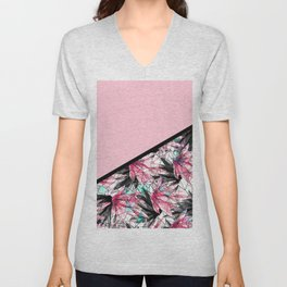 Blush Pink and Teal Abstract Tropical Leaves Unisex V-Neck