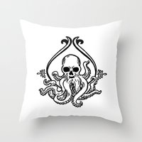 cthulhu Throw Pillows featuring Cthulhu by MyOwlHasAntlers