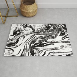 black and white marble watercolor painting canvas art decor Rug