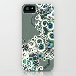 Diagonal flower – blue and green fiber iPhone Case