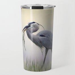 Great Blue Heron with a Bull Frog in its Beak Travel Mug