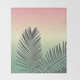 Pastel Tropical Plam Tree Throw Blanket