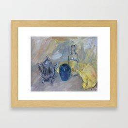 Still life with yellow cloth Framed Art Print