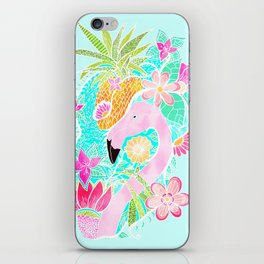 Tropical summer watercolor flamingo floral pineapple iPhone Skin