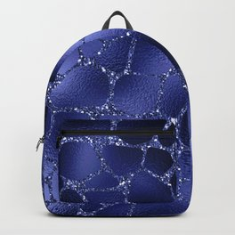 Glam Blue Faux Foil and Glitter Giraffe Print Backpack