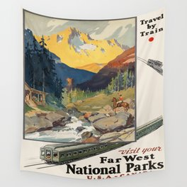 Vintage poster - National parks Wall Tapestry