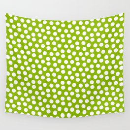 White Polka Dots on Fresh Spring Green - Mix & Match with Simplicty of life Wall Tapestry