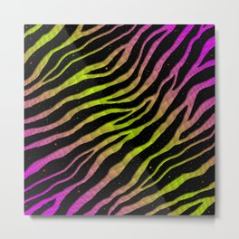 Ripped SpaceTime Stripes - Pink/Lime Metal Print