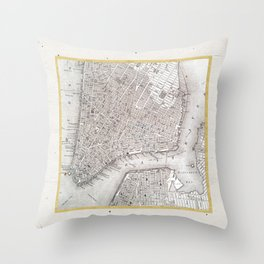 Vintage New York City Gold Foil Location Coordinates with map Throw Pillow