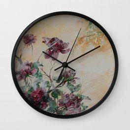 PEONY IN THE RAIN Wall Clock