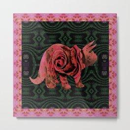 Vintage Rose 1960s Pink Dinosaur Print Metal Print